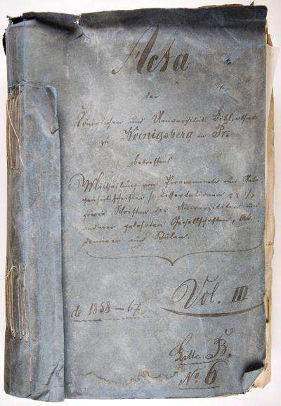 Acta der Koniglichen und Universitats Bibliothek zu Koenigsberg … - 1857.XII.31-1867.XII.13. - 512 lap.