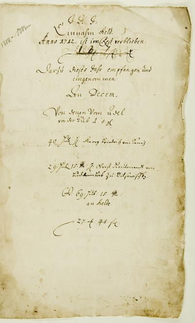 Einnahm Geld Anno 1712 … - 1710-1713. - 13 lap.