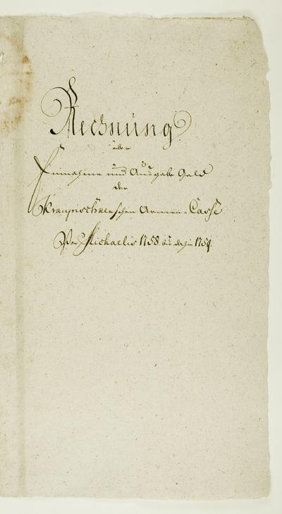 Rechnung über Einnahme und Ausgabe Geld der Kraupischkenschen Armen Casse von Michaelis  1758 bis dahin 1759. - 1758-1759. - 29 lap.