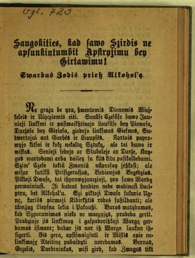 Saugokities, kad sawo szirdis ne apsunkintumbit apsiryjimu bey girtawimu! / [iš vokiečių kalbos vertė] Kuczius [Vilius Kučius]. - [apie 1904]. - 7, [1] p.