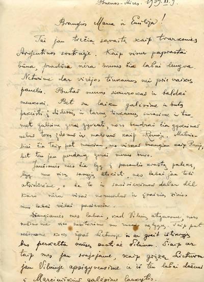 Kazio Graužinio laiškas mamai į Lietuvą. 1939-11-09