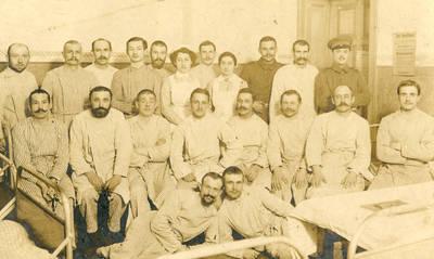 Nežinomas autorius. Karaliaučiaus karo ligoninėje besigydantys kareiviai. 1916