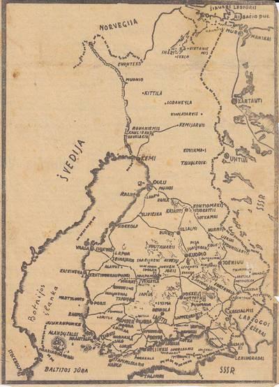 Nežinomas autorius. Iškarpa iš laikraščio. Suomijo žemėlapis. 1940
