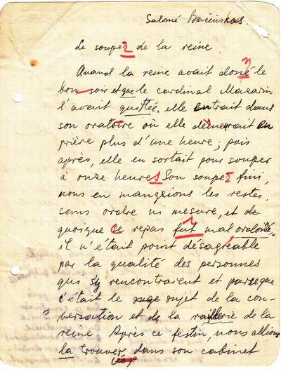 "Salomėja Nėris. Rankraštis. ""Le souper de la reine"" [prancūzų kalbos pratybų lapelis]. 1937"