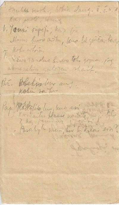 """Salomėja Nėris. Rankraštis. """"Sunku..."""" [Sakiniai, parinkti ruošiantis sintaksės pamokai. Kitoje pusėje - B. Bučo įgaliojimas S. Nėriai paimti iš taupomosios kasos pinigus, su B. Bučo autografu]. 1940"""
