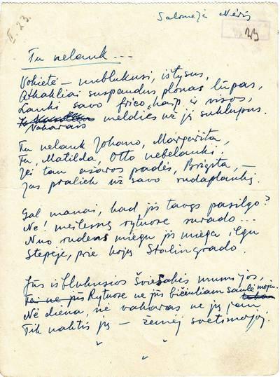 """Salomėja Nėris. Rankraštis. """"Tu nelauk"""" [eilėraštis]. 1943"""