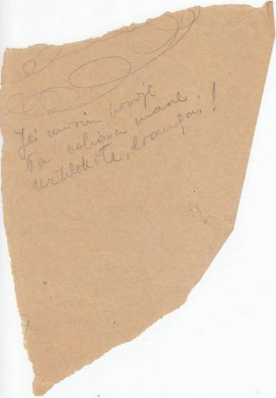 """Salomėja Nėris. Rankraštis. """"Jei mirsiu kovoje...""""  [eilėraščio posmas]. 1945"""