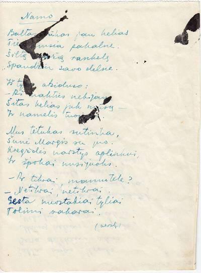 """Salomėja Nėris. Rankraštis. """"Namo"""" [eilėraštis]. 1942-05-28"""