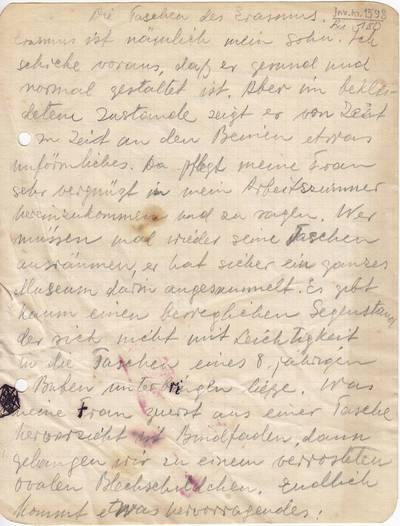 """Salomėja Nėris. Rankraštis. """"Die Taschen des Erasmus [kūrinio """"Erazmo kišenės"""" ištrauka vokiečių kalba]. 1934"""