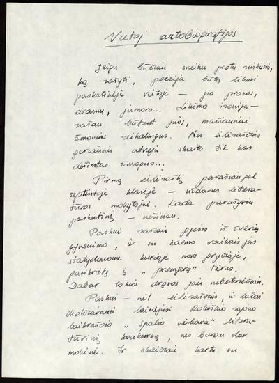 Vietoj autobiografijos / Elena Mezginaitė. - 1986.12.11