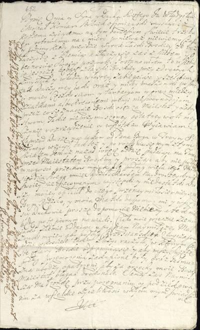 """Šiaulių """"Aušros"""" muziejaus rinkiniai. Dvarų archyvo dokumentai. 1704 m. balandžio 13 d. Ašmenos stalininko Vladislovo Komaro testamento kopija, surašyta 1704 m. liepos 24 d. Raseiniuose. Turtas užrašytas žmonai Marianai Platerovai ir sūnui Adomui. - 1704.07.24"""