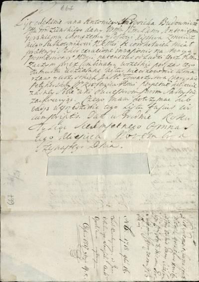 """Šiaulių """"Aušros"""" muziejaus rinkiniai. Dvarų archyvo dokumentai. 1718 m. lapkričio 16 d. Gardino architekto Jono Antano Starosiekos liudijimas, kad Žemaitijos kunigaikštystės vėliavininką ir pasiuntinį Antaną Gorskį pastotėje užpuolė plėšikai, todėl jis nesuspėjo surinkti po savo vėliava žmonių. - 1718.11.16"""