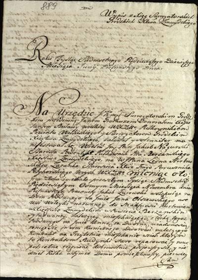 """Šiaulių """"Aušros"""" muziejaus rinkiniai. Dvarų archyvo dokumentai. Išrašas iš Žemaitijos kunigaikštystės surogatorinių knygų apie Pavenčių seniūno, Beržėnų pavieto pulkininko Jokūbo Nagurskio bylą su leitenantu Leonu Herbovskiu dėl pabėgusio iš Viteikių kaimo valstiečio Jokūbo Žarovskio sugrąžinimo, 1759 m. birželio 15 d. - 1759"""