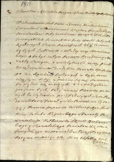 """Šiaulių """"Aušros"""" muziejaus rinkiniai. Dvarų archyvo dokumentai. Šaukimas į Upytės pavieto miesto teismą Žemaitijos kunigaikštystės seniūno pavaduotojui L. Horbovskiui byloje prieš J. Nagurskį dėl pabėgusio valstiečio, 1759 m. birželio 15 d. - 1759.06.15"""