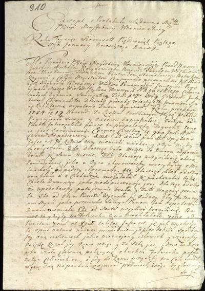 """Šiaulių """"Aušros"""" muziejaus rinkiniai. Dvarų archyvo dokumentai. Išrašas iš Varnių magdeburginių teismo knygų. Naugarduko vaivadijos pataurininkas Mauricijus Nagurskis savo viršininko, Žemaitijos kunigaikštystės surogatoriaus Lauryno Nagurskio vardu iškėlė bylą pavaldinei Annai Kokštovnai dėl Dirvėnų dvaro sudeginimo, 1755 m. sausio 10 d. - 1755.01.10"""