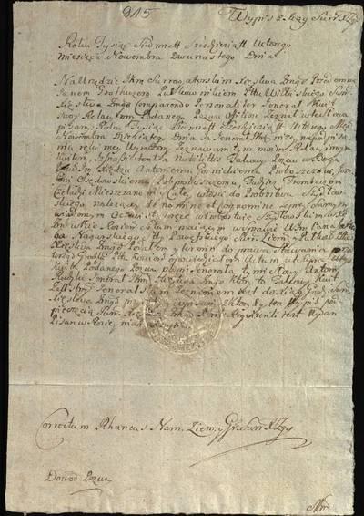 """Šiaulių """"Aušros"""" muziejaus rinkiniai. Dvarų archyvo dokumentai. Išrašas iš Žemaitijos kunigaikštystės surogatorinių knygų apie tai, kad buvo įteiktas šaukimas atvykti į teismą Šidlovo klebonams byloje prieš J. Nagurskį, 1762 m. lapkričio 12 d. - 1762.11.12"""