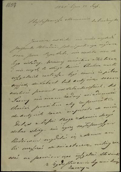 """Šiaulių """"Aušros"""" muziejaus rinkiniai. Dvarų archyvo dokumentai. Tito Gorskio laiškas motinai, kuriame jis rašo, kad Jacevičius negali išduoti pasą Blindai, apie savo kelionę į Salantus ir kt. - 1848.07.07"""