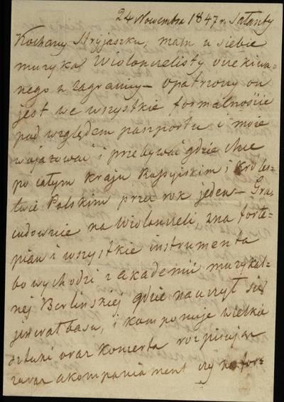 """Šiaulių """"Aušros"""" muziejaus rinkiniai. Dvarų archyvo dokumentai. Alberto Gorskio laiškas Adomui Gorskiui, kuriame jis rašo, kad savo dvare turi puikų violančelistą, baigusį Berlino muzikos akademiją. - 1847.11.24"""