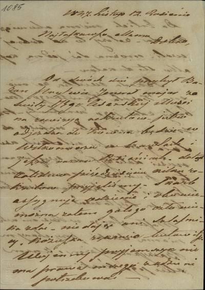 """Šiaulių """"Aušros"""" muziejaus rinkiniai. Dvarų archyvo dokumentai. Napoleono Tito Gorskio laiškas motinai, kuriame jis rašo apie rekrūtų reikalus, mini Karolį Kuvskį, Maslovskį, Jančevskį. - 1847.11.12"""