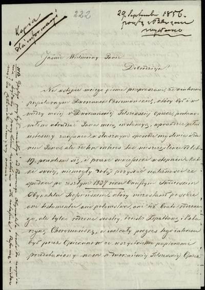 """Šiaulių """"Aušros"""" muziejaus rinkiniai. Dvarų archyvo dokumentai. 1856 m. rugsėjo 29 d. laiškas, išsiųstas iš Beržėnų, dėl turto - Puodžiškių dvaro Raseinių paviete, kuris po A. Sviderskio mirties turėtų atitekti jo seserims -  Lopatovai ir K. Choromauskai  ir lapkričio 4 d. laiškas, išsiųstas iš Dimaičių apie teisminius reikalus. - 1856.09.29"""
