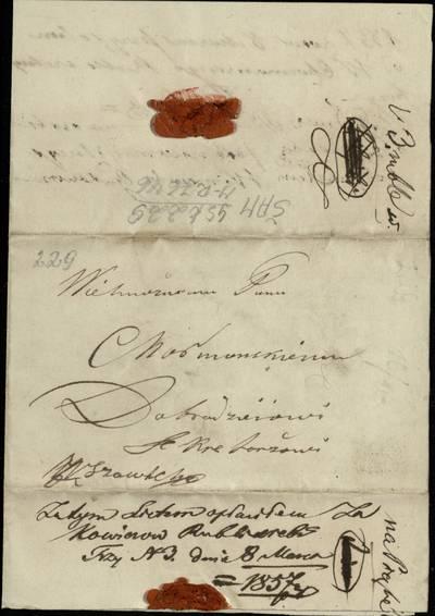 """Šiaulių """"Aušros"""" muziejaus rinkiniai. Dvarų archyvo dokumentai. 1857 m. kovo 4 d. Jono Kovierovo laiškas Kajetonui Choromauskiui, prašoma atsiųsti 3 rublius ir kovo 4 d. raštelis, kuriame patvirtinama T. Baranovskio parašu, kad pinigai gauti / J. Kovierovas. - 1857.03.4,8"""