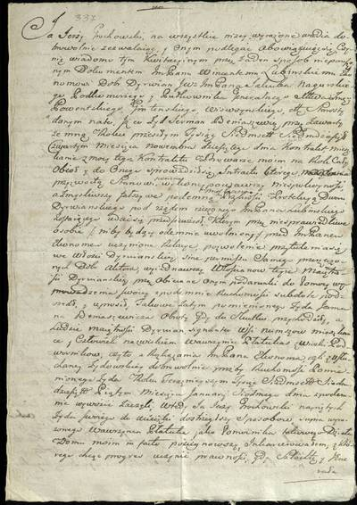 """Šiaulių """"Aušros"""" muziejaus rinkiniai. Dvarų archyvo dokumentai. Jurgio Grochovskio 1775 m. raštas apie tai, kad jis su Dirvėnų ekonomo V. Lubinskio žinia išnuomojo alaus daryklą žydui G. Beniaševičiui, o šis pradėjo išvežinėti daiktus. Rašyta Beržėnų paviete, Kruopšuose. - 1775"""