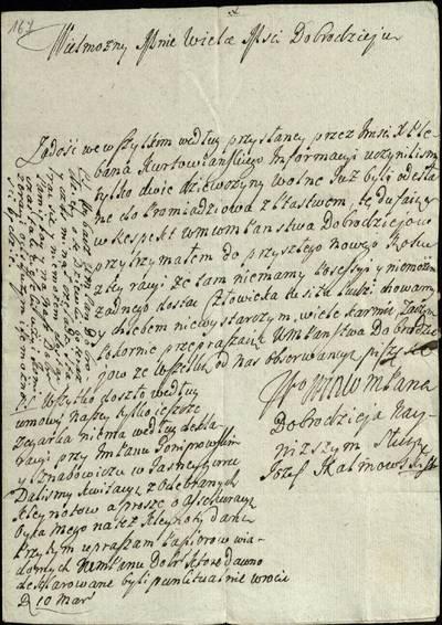 """Šiaulių """"Aušros"""" muziejaus rinkiniai. Dvarų archyvo dokumentai. Juozo Kalinovskio laiškas Pranciškui Nagurskiui, kuriame rašoma, kad Kurtuvėnų klebonui pranešus, jis ruošiasi pasiusti į Promiadžiovą dvi mergas / J. Kalinovskis"""