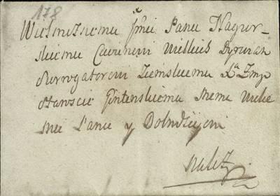 """Šiaulių """"Aušros"""" muziejaus rinkiniai. Dvarų archyvo dokumentai. Nežinomo asmens laiškas D.Dirvėnų tijūnui Nagurskiui, rašytas 1760 sausio 29 d. Šiauliuose. Rašoma apie melagingus dokumentus, kuriais naudojasi Daugevičių  posesijos nuomininkas ir bando gauti Ligumų vaitystę. Su voku. - 1760.01.29"""