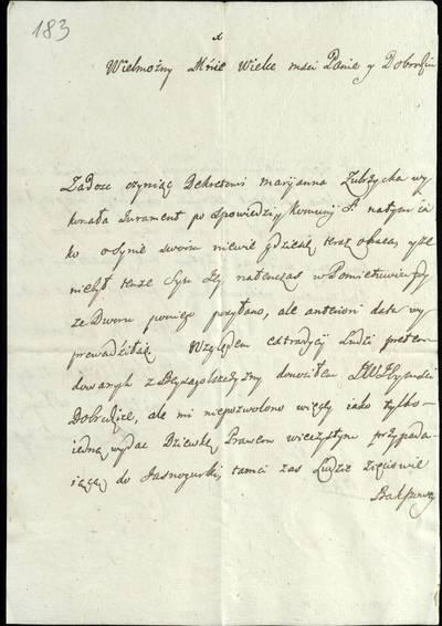 """Šiaulių """"Aušros"""" muziejaus rinkiniai. Dvarų archyvo dokumentai. 1746 m. gruodžio 8 d. J. Stempkovskio laiškas M. Dirvėnų tijūnui V. Nagurskiui, rašytas Veliuonoje dėl baudžiauninkių ištekinimo Jasnagurkos dvare / J. Stempkovskis. - 1746.12.08"""