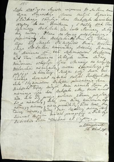 """Šiaulių """"Aušros"""" muziejaus rinkiniai. Dvarų archyvo dokumentai. 1746 m. rugpjūčio 30 d. J. Stempkovskio iš Veliuonos laiškas M. Dirvėnų tijūnui   Laurynui Nagurskiui. Pranešama apie Marianos Zabžyckos apklausą dėl sūnaus Jono Bakšako pabėgimo į Veliuoną, Pamitavos kaimą / Stempkovskis. - 1746.08.30"""