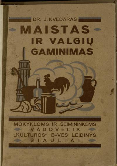 Maistas ir valgių gaminimas / J. Kvedaras. - 1925