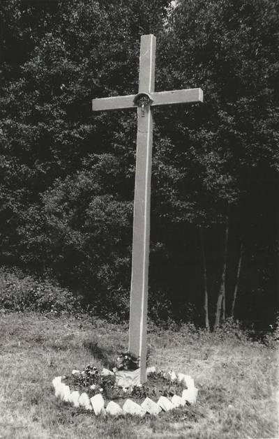 Alfonso Beresnevičiaus sakralinio meno fotografijos kolekcija. Ikonografija. Kryžiai. [Medinis kryžius stovintis sankryžoje Plungė - Žemaičių Kalvarija - Alsėdžiai - Plateliai / fotografuota Alfonso Beresnevičiaus 1992 m. vasarą]. - 1992