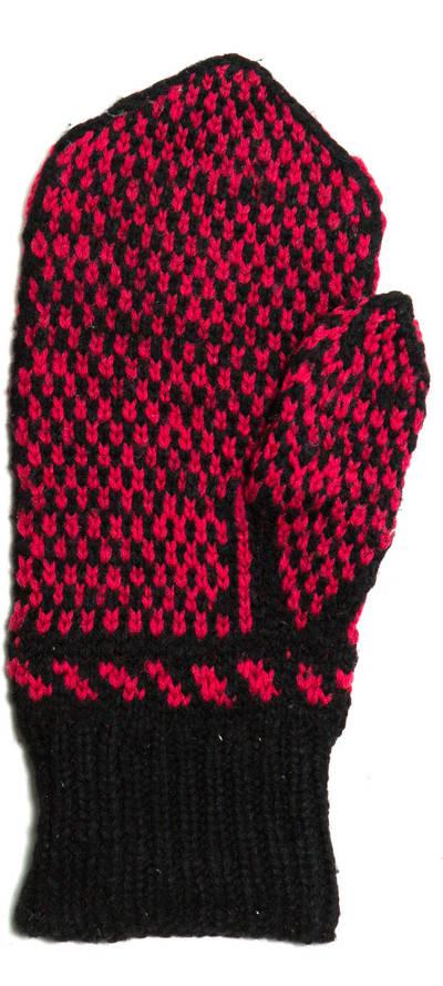 Petronėlė Butkienė. Iš vilnonių siūlų, virbalais megzta pirštinė (dešinei rankai). Puošta juodų ir raudonų siūlų tulpių ornamentu. 1980
