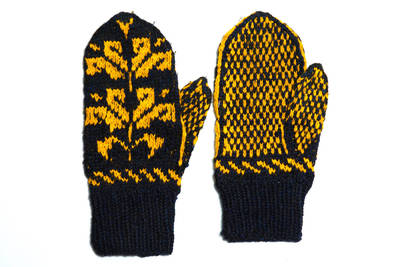 Petronėlė Butkienė. Iš vilnonių siūlų, virbalais megztos pirštinės. Puoštos juodų ir geltonų siūlų tulpių ornamentu. 1980