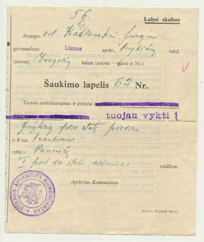 Šaukimo lapelis. 1940