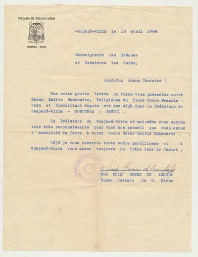 Vyskupo G. Mirim raštas. 1968-04-18
