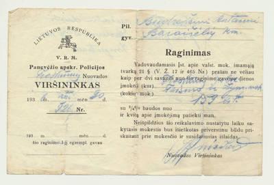Raginimas sumokėti mokesčius. 1936-12-30