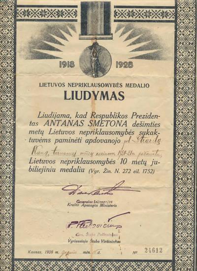 Lietuvos nepriklausomybės 10-mečio jubiliejinio medalio apdovanojimo liudijimas. 1928-05-15