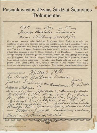Baltakių šeimos pasiaukojimo Jėzaus širdžiai dokumentas. 1932-03-29