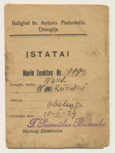 Religinės šv. Antano Paduviečio draugijos nario knygelė. 1929-01-10
