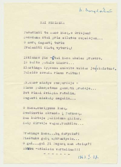 """Bronė Buivydaitė. B. Buivydaitės eilėraščio """"Kai nesiseka"""" mašinraštis. 1963-01-28"""