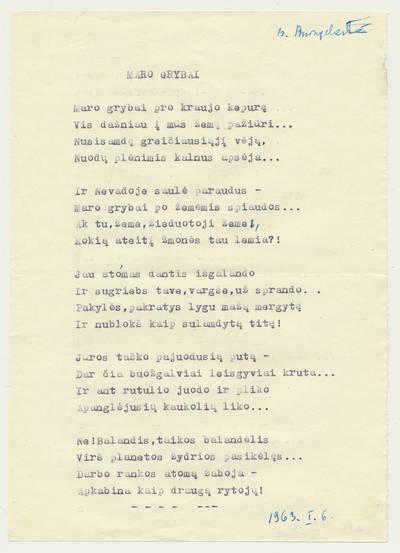 """Bronė Buivydaitė. B. Buivydaitės eilėraščio """"Maro grybai"""" mašinraštis. 1963-01-06"""