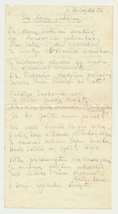 """Bronė Buivydaitė. B. Buivydaitės eilėraščio """"Šių dienų žodžiai"""" rankraštis. 1942-07-16"""