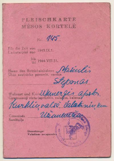 Mėsos kortelė. 1944-01-22