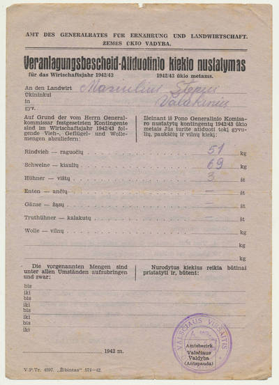 Pranešimas dėl gyvulių, paukščių ir vilnos atiduotinio kiekio nustatymo. 1942