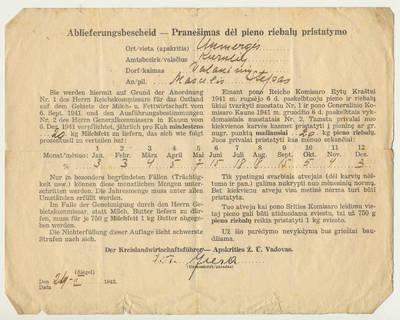 Pranešimas dėl pieno riebalų pristatymo. 1942-02-24