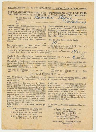 Pranešimas apie linų prievolę. 1942