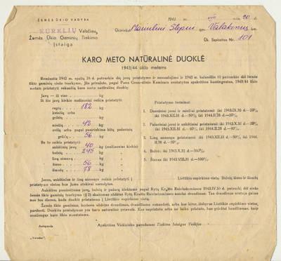 Pranešimas dėl karo metų natūralinės duoklės. 1943-08-20