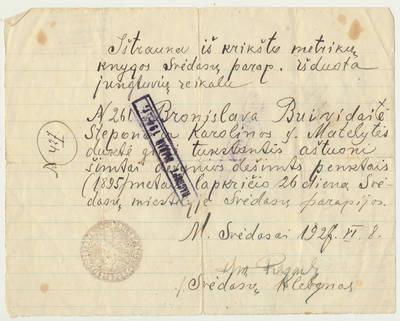 Išrašas iš Svėdasų parapijos krikšto metrikų knygos. 1927-06-08