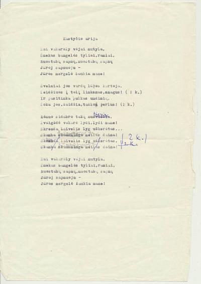 """Bronė Buivydaitė. Trijų veiksmų opera """"Jūratė ir Kastytis"""" pagal B. Buivydaitės libretą. Fragmentai."""